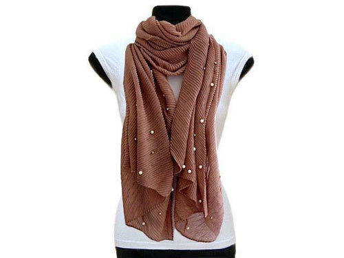 A-SHU PEARL BEAD DARK NUDE CRINKLE LIGHTWEIGHT SCARF - A-SHU.CO.UK