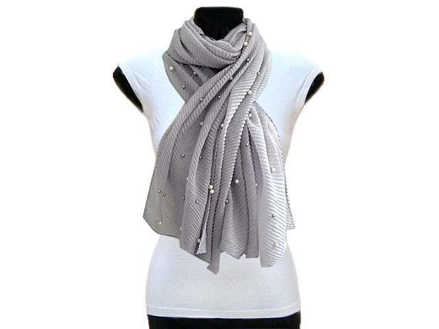A-SHU PEARL BEAD LIGHT GREY CRINKLE LIGHTWEIGHT SCARF - A-SHU.CO.UK