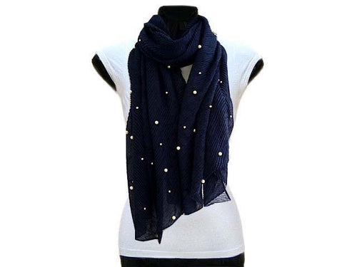 A-SHU PEARL BEAD NAVY BLUE CRINKLE LIGHTWEIGHT SCARF - A-SHU.CO.UK