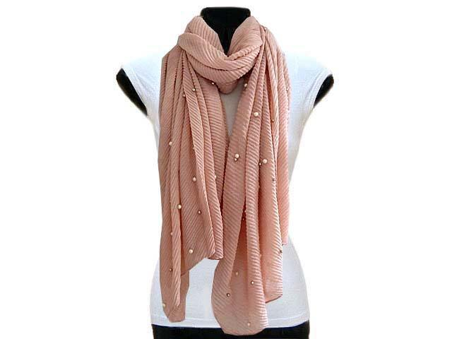 A-SHU PEARL BEAD PINK CRINKLE LIGHTWEIGHT SCARF - A-SHU.CO.UK
