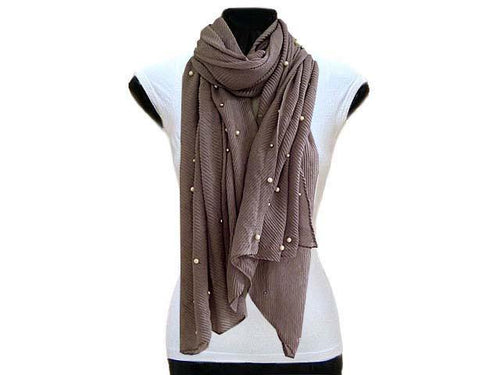 A-SHU PEARL BEAD TAUPE GREY CRINKLE LIGHTWEIGHT SCARF - A-SHU.CO.UK