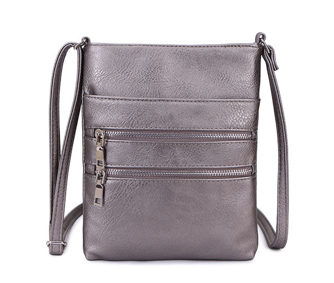 PEWTER SLIM MULTI POCKET CROSS BODY BAG WITH LONG SHOULDER STRAP