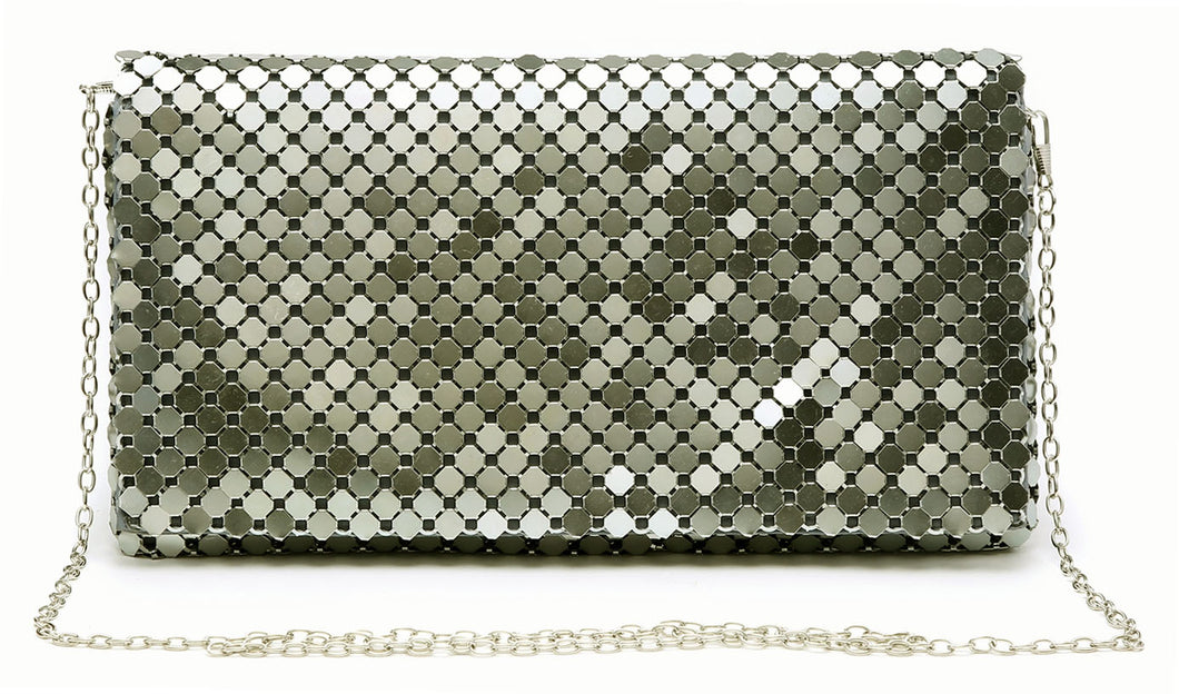 PEWTER GREY LASER CUT REFLECTIVE METALLIC HOLOGRAM ENVELOPE CLUTCH BAG WITH LONG CHAIN SHOULDER STRAP