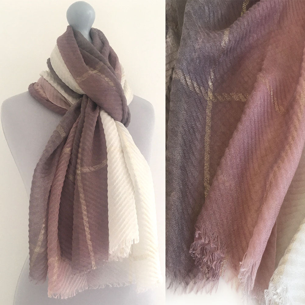 PINK OMBRE PLEATED METALLIC REVERSIBLE SHAWL SCARF