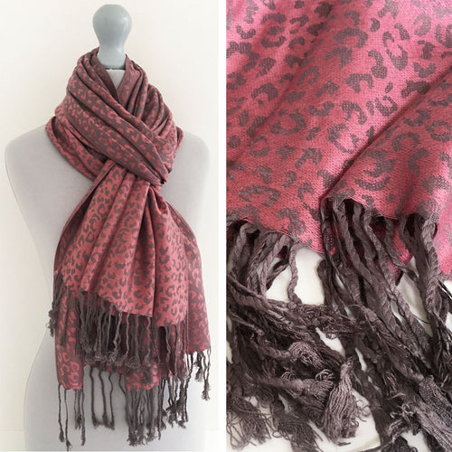 A-SHU PINK SMALL LEOPARD PRINT REVERSIBLE PASHMINA SHAWL SCARF - A-SHU.CO.UK