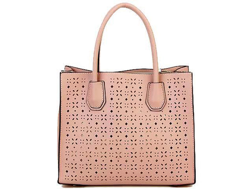 PINK MULTI-COMPARTMENT CUT OUT SYMMETRIC HANDBAG WITH LONG STRAP