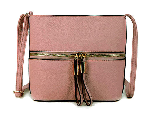 BLUSH PINK MULTI COMPARTMENT CROSSBODY BAG WITH LONG STRAP