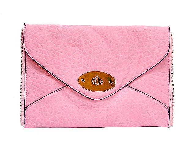A-SHU PINK TEXTURED LEATHER EFFECT ZIP DESIGN CLUTCH BAG / SHOULDER BAG - A-SHU.CO.UK