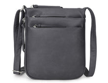 A-SHU PLAIN CURVED DARK GREY MULTI COMPARTMENT CROSS BODY SHOULDER BAG - A-SHU.CO.UK