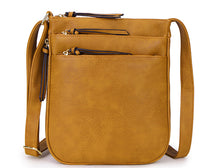 A-SHU PLAIN CURVED MUSTARD YELLOW MULTI COMPARTMENT CROSS BODY SHOULDER BAG - A-SHU.CO.UK