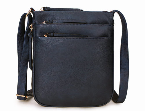 A-SHU PLAIN CURVED NAVY BLUE MULTI COMPARTMENT CROSS BODY SHOULDER BAG - A-SHU.CO.UK