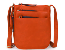 A-SHU PLAIN CURVED ORANGE MULTI COMPARTMENT CROSS BODY SHOULDER BAG - A-SHU.CO.UK