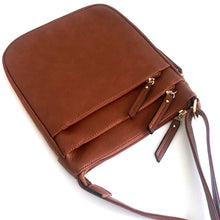 A-SHU PLAIN CURVED TAN MULTI COMPARTMENT CROSS BODY SHOULDER BAG - A-SHU.CO.UK