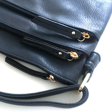A-SHU PLAIN NAVY BLUE MULTI COMPARTMENT CROSS BODY SHOULDER BAG - A-SHU.CO.UK