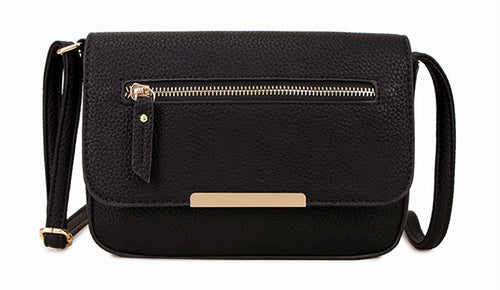 A-SHU PLAIN BLACK MULTI COMPARTMENT CROSS BODY SATCHEL BAG - A-SHU.CO.UK