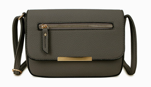 A-SHU PLAIN DARK GREY MULTI COMPARTMENT CROSS BODY SATCHEL BAG - A-SHU.CO.UK
