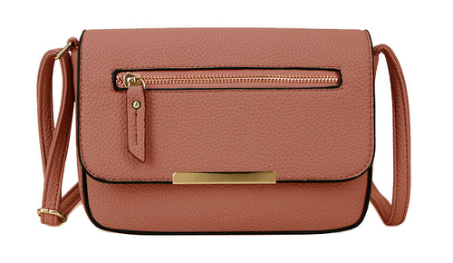 A-SHU PLAIN DUSKY PINK MULTI COMPARTMENT CROSS BODY SATCHEL BAG - A-SHU.CO.UK