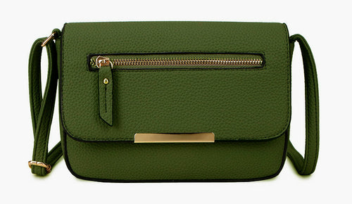 A-SHU PLAIN GREEN MULTI COMPARTMENT CROSS BODY SATCHEL BAG - A-SHU.CO.UK