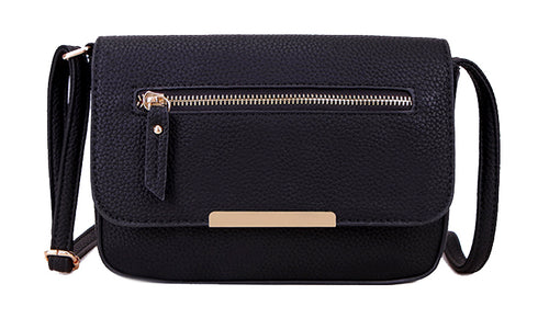 A-SHU PLAIN NAVY BLUE MULTI COMPARTMENT CROSS BODY SATCHEL BAG - A-SHU.CO.UK