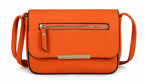 A-SHU PLAIN ORANGE MULTI COMPARTMENT CROSS BODY SATCHEL BAG - A-SHU.CO.UK