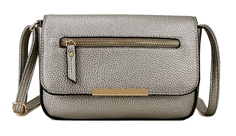 A-SHU PLAIN PEWTER MULTI COMPARTMENT CROSS BODY SATCHEL BAG - A-SHU.CO.UK