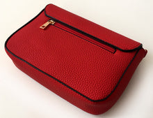 A-SHU PLAIN RED MULTI COMPARTMENT CROSS BODY SATCHEL BAG - A-SHU.CO.UK