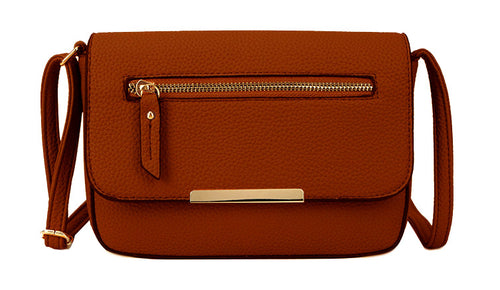 A-SHU PLAIN TAN MULTI COMPARTMENT CROSS BODY SATCHEL BAG - A-SHU.CO.UK