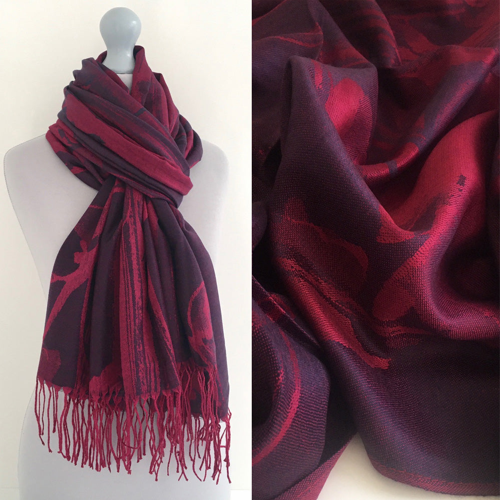 A-SHU PURPLE BERRY REVERSIBLE PASHMINA SHAWL SCARF IN ABSTRACT FLORAL PRINT - A-SHU.CO.UK