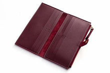 MAROON WINE FAUX LEATHER SLIM MULTI-COMPARTMENT PURSE WALLET WITH MOBILE PHONE SLOT
