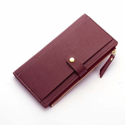 ORDER BY REQUEST - MAROON WINE FAUX LEATHER SLIM MULTI-COMPARTMENT PURSE WALLET WITH MOBILE PHONE SLOT