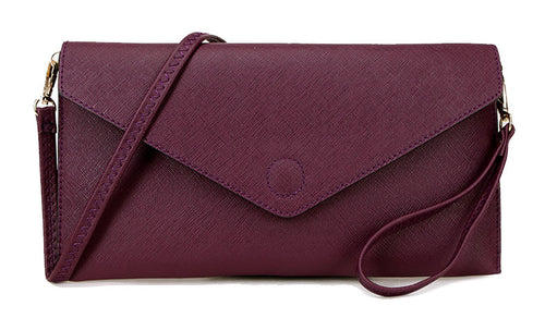 PURPLE OVER-SIZED ENVELOPE CLUTCH BAG WITH LONG CROSS BODY AND WRISTLET STRAPS