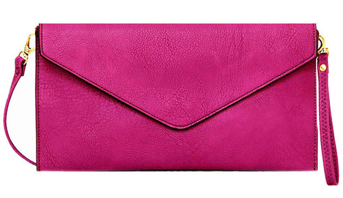 PURPLE OVER-SIZED ENVELOPE CLUTCH BAG WITH LONG CROSS BODY AND WRISTLET STRAP