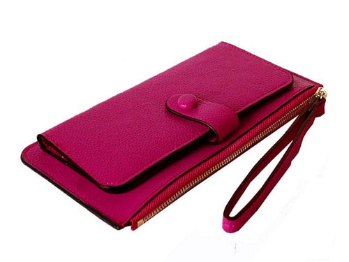 A-SHU PURPLE SLIM LINE MULTI-COMPARTMENT PURSE WITH WRIST STRAP - A-SHU.CO.UK