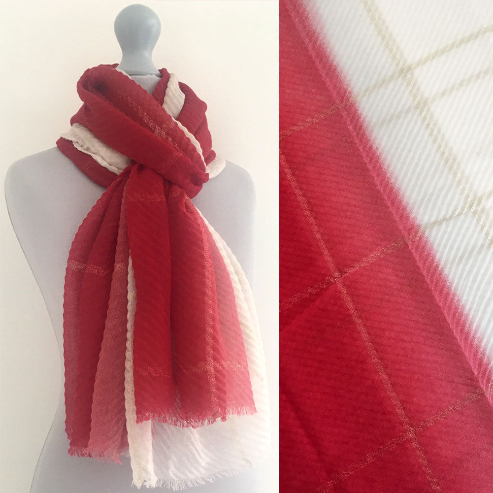 RED OMBRE PLEATED METALLIC REVERSIBLE SHAWL SCARF