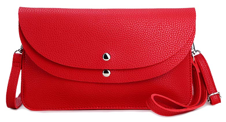 RED ENVELOPE MULTI-POCKET CLUTCH BAG WITH WRISTLET AND LONG SHOULDER STRAP