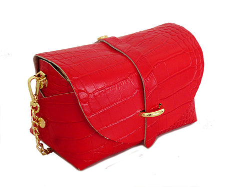 RED GENUINE LEATHER CROC PRINT CROSS BODY BAG WITH CHAIN STRAP