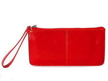 A-SHU RED GENUINE LEATHER SLIM LINE MULTI-COMPARTMENT PURSE WITH WRIST STRAP - A-SHU.CO.UK