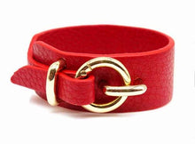 A-SHU RED GENUINE LEATHER WIDE CUFF BRACELET WITH BUCKLE CLOSURE - A-SHU.CO.UK