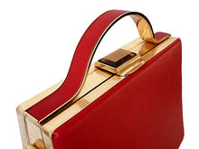 A-SHU RED HARDBACK METAL HOLDALL HANDBAG WITH LONG STRAP - A-SHU.CO.UK