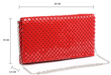 A-SHU RED LASER CUT REFLECTIVE METALLIC HOLOGRAM ENVELOPE CLUTCH BAG WITH LONG CHAIN SHOULDER STRAP - A-SHU.CO.UK