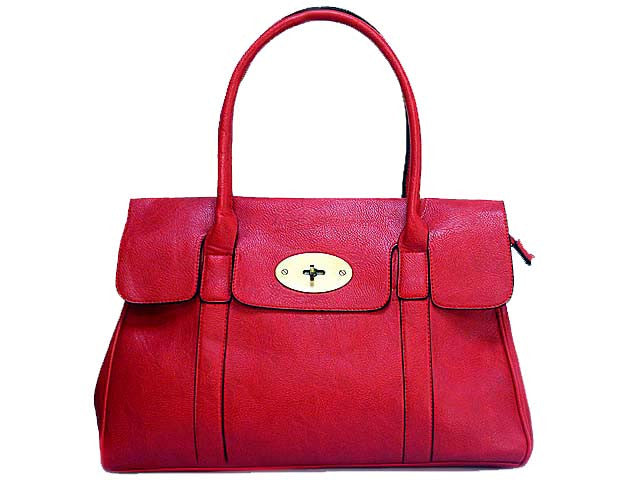 A-SHU ORDER BY REQUEST - DEEP RED LEATHER EFFECT CLASSIC HANDBAG WITH TWIST-LOCK CLOSURE - A-SHU.CO.UK