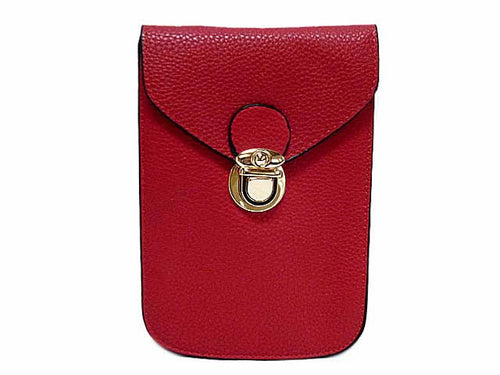A-SHU RED LEATHER EFFECT SLIM LINE PHONE POUCH / CROSS BODY BAG WITH LONG STRAP - A-SHU.CO.UK