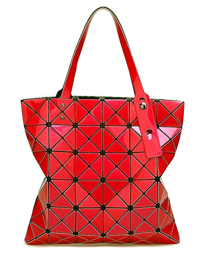A-SHU RED LUMINOUS LASER CUT HOLOGRAPHIC GEOMETRIC TOTE HANDBAG - A-SHU.CO.UK