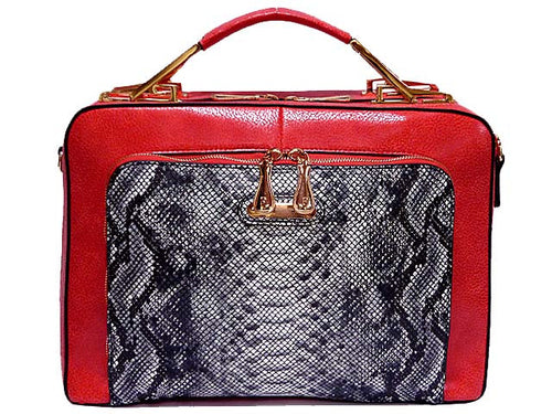 A-SHU RED METALLIC CROC EFFECT MULTI-COMPARTMENT HOLDALL HANDBAG / SHOULDER BAG - A-SHU.CO.UK