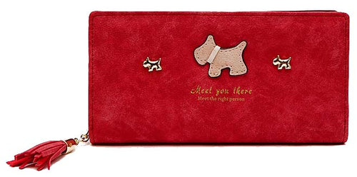 A-SHU RED MULTI-COMPARTMENT DOG PURSE WALLET WITH TASSEL - A-SHU.CO.UK