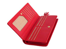 RED MULTI-COMPARTMENT DOG PURSE WALLET WITH TASSEL