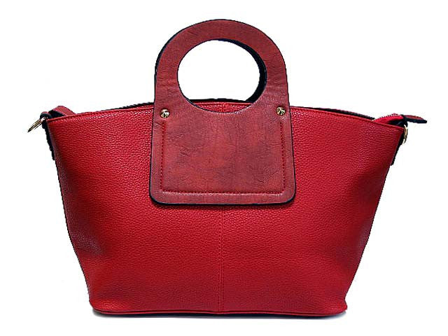 RED MULTI-COMPARTMENT HOLDALL HANDBAG WITH LONG STRAP