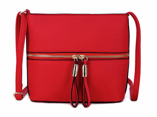 RED MULTI COMPARTMENT CROSSBODY BAG WITH LONG STRAP