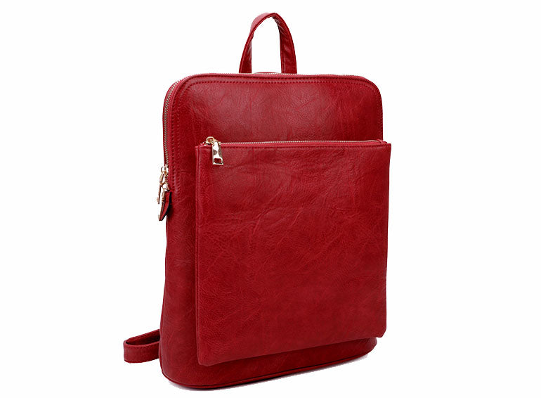 A-SHU RED MULTI COMPARTMENT CROSS BODY BACKPACK - A-SHU.CO.UK