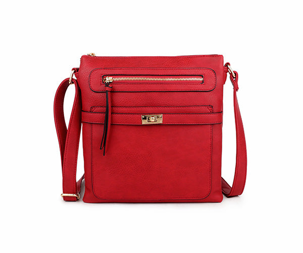 A-SHU RED MULTI COMPARTMENT CROSS BODY SHOULDER BAG - A-SHU.CO.UK